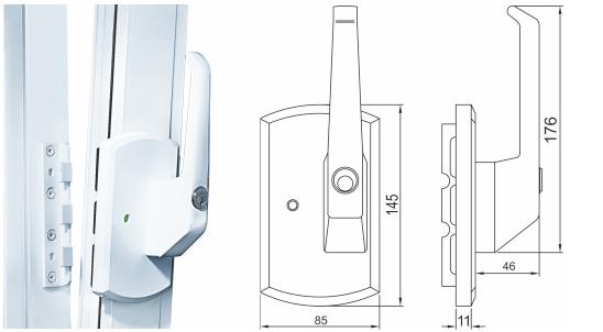 klamka okienna z zabezpieczeniem kluczowym